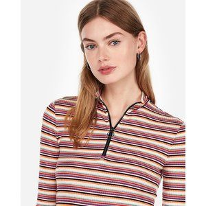 NWT Express One Eleven Striped Zip Front Tee S